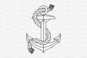 ♡ vector outline Anchor & rope