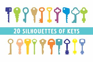 Keys Silhouettes in vector 20 eps fi