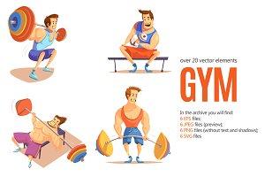 Gym Cartoon Set