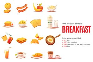 Breakfast Cartoon Set