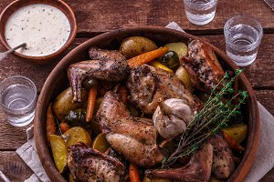 Oven baked rabbit with garlic sauce