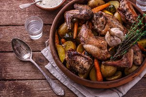Oven baked rabbit with root