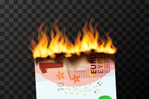Burning dummy of half ten euro