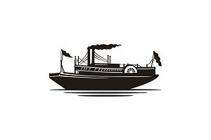 Classic Steamboat Steamship Logo