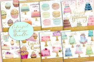Colorful Sweet Baking Clipart Bundle