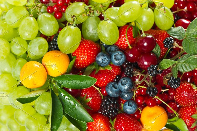 Fresh fruits and berries. Food - Food & Drink