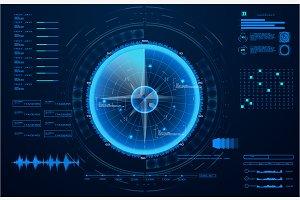 Futuristic radar. Military navigate