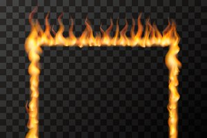 Fire flames in square frame shape