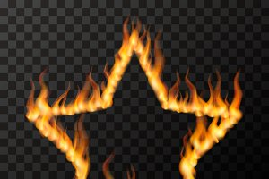 Fire flames in star frame shape