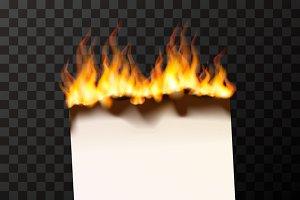 Burning blank sheet of paper