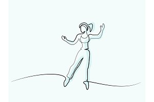 Happy jumping woman Continuous line