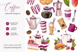 Watercolor Coffee Design Set