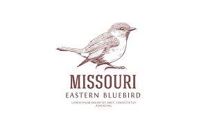 Bird Vintage Logo. Eastern Bluebird