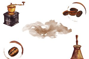 Coffee watercolor background