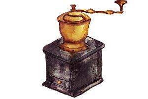 Watercolor coffee grinder