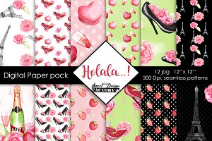 Valentine's day digital paper pack