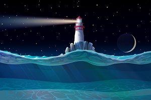 ⚓ vector Lighthouse in ocean night