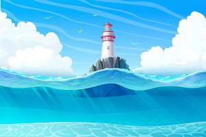 ⚓ vector Lighthouse in ocean view