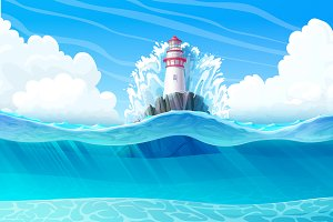 ⚓ vector Lighthouse in ocean view