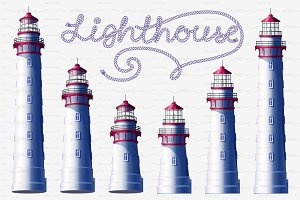 ⚓ vector volume Lighthouse night set