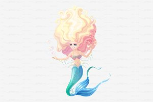 ♥ vector cartoon mermaid character