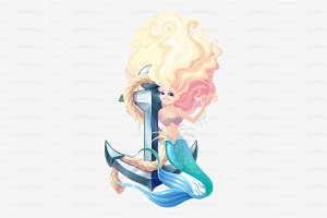 ⚓ vector mermaid character & anchor