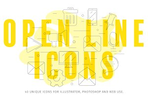 40 Open Line Icons • AI+PNG+SVG •