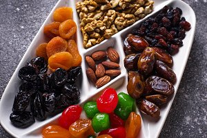 Mix of dried fruits and nuts in