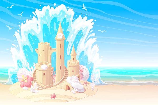 ♥ vector sandcastle on beach