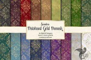 Distressed Gold Damask Digital Paper