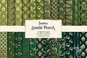 Emerald Peacock Digital Paper