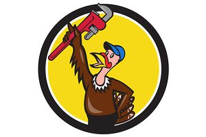 Turkey Plumber Raising Wrench Circle