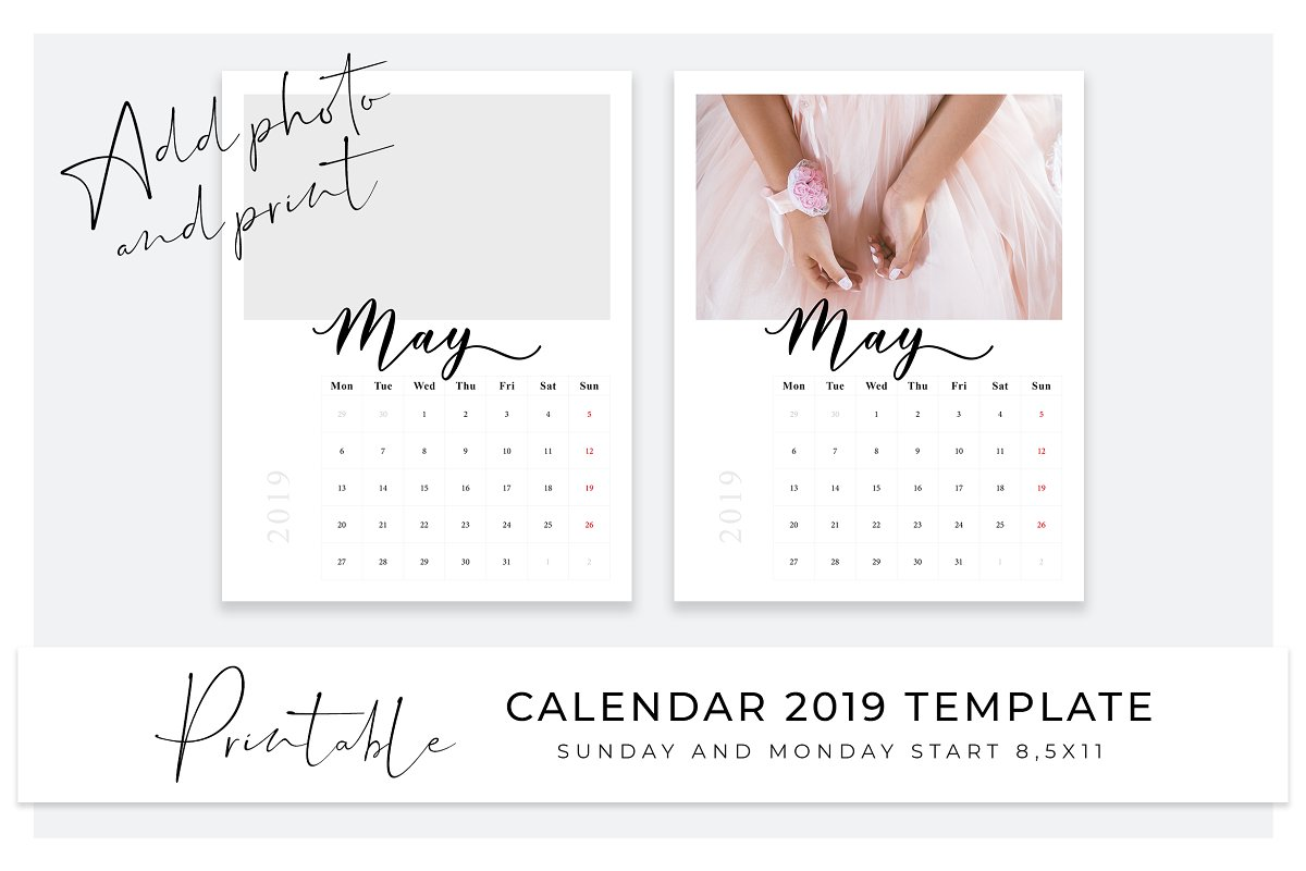 Photo calendar 2019 template