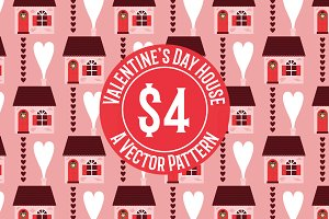 Valentine's Day House Vector Pattern