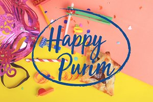 Purim background with carnival mask,