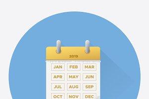 Vector illustration. Calendar 2019