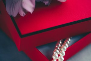 wonderful pearls in a red gift box
