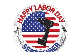 Labor Day Logo with USA flag