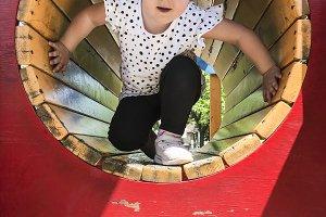 Child play on playground.