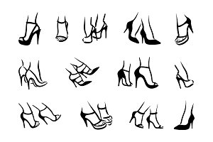 Woman feet in high heels icons