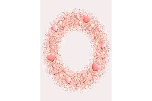 Pink Hearts and Glitter Frame