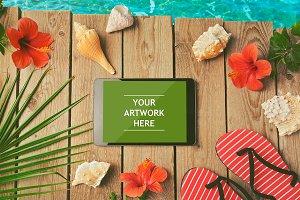 Digital tablet mock up for summer