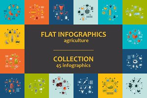 45 AGRICULTURE FLAT infographics