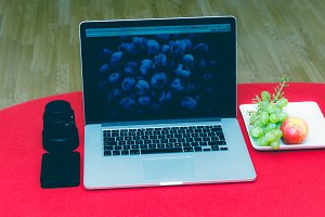A photography workspace