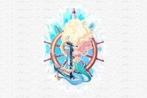 ♥ vector sea mermaid concept