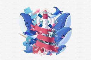♥ vector nautical sea summer concept