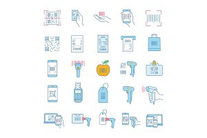 Barcodes color icons set
