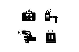 Barcodes glyph icons set