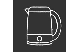 Electric kettle chalk icon
