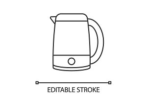 Electric kettle linear icon